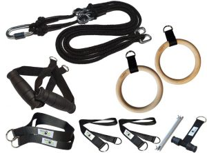 BodyCROSS Slingtrainer Bundle – inklusive Holz Turnringe